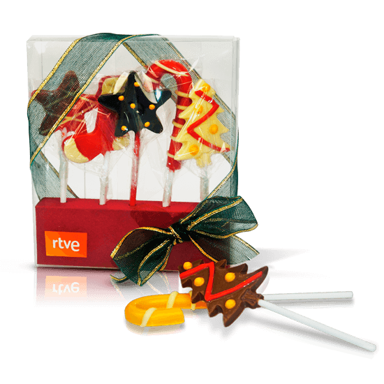 Box with chocolate lollipops