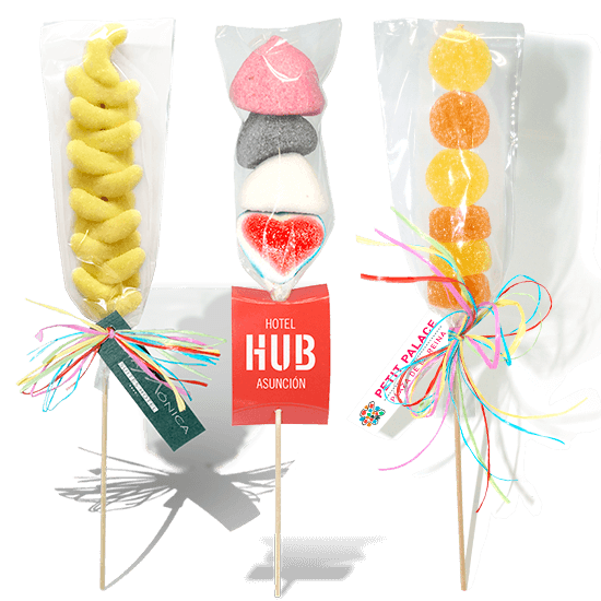 Jelly skewer with cardboard