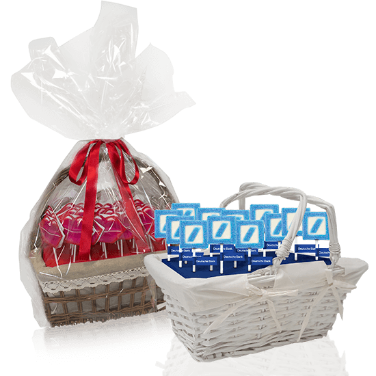 Candy basket with lollipops