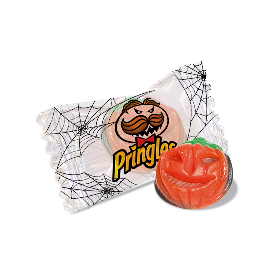 Flowpack candy with gummy pumpkin