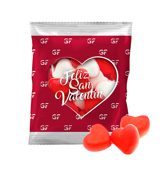 10g bag with gummies heart