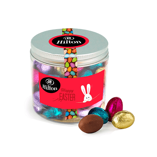 Pet blue jar with chocolates eggs
