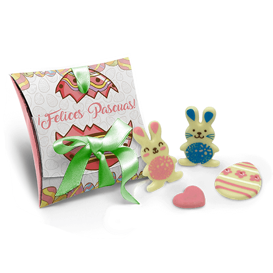Cardboard with chocolate rabbits