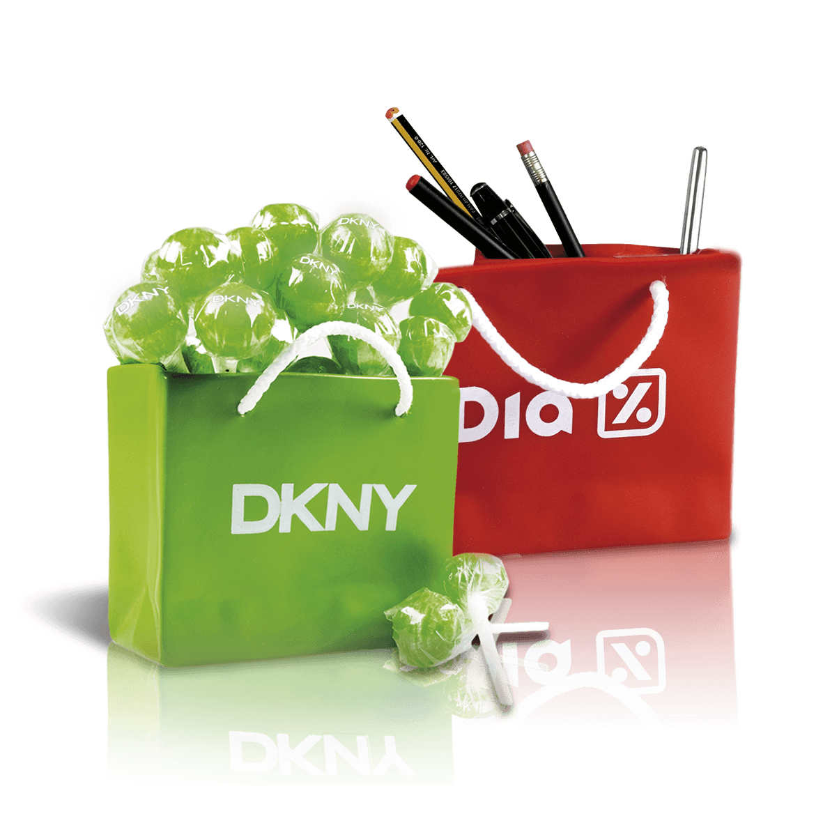 Bag shape pencil holder with candies