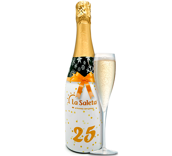 Bottles of cava personalized