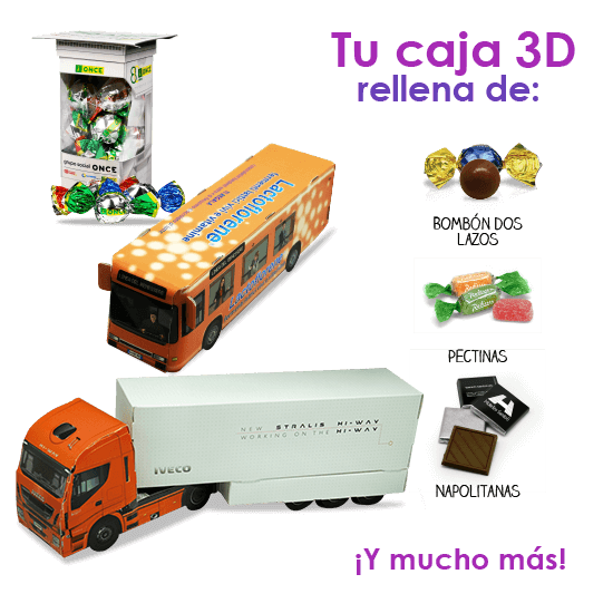 Lorry with chocolates en 3D
