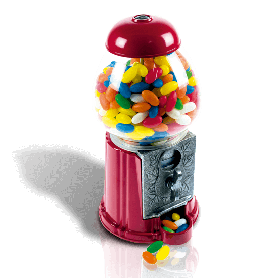 Chewing gum container with candies