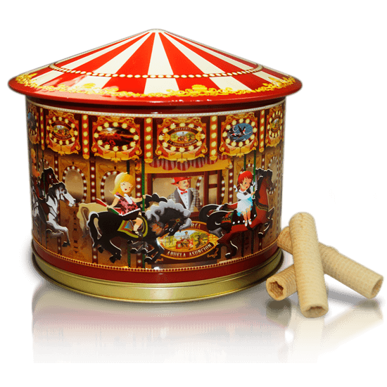 Carousel tin with waffles