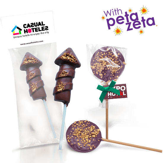 Chocolate lollipop with Peta Zeta