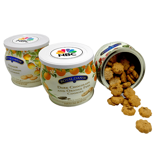 Tin with mini cookies of various flavors