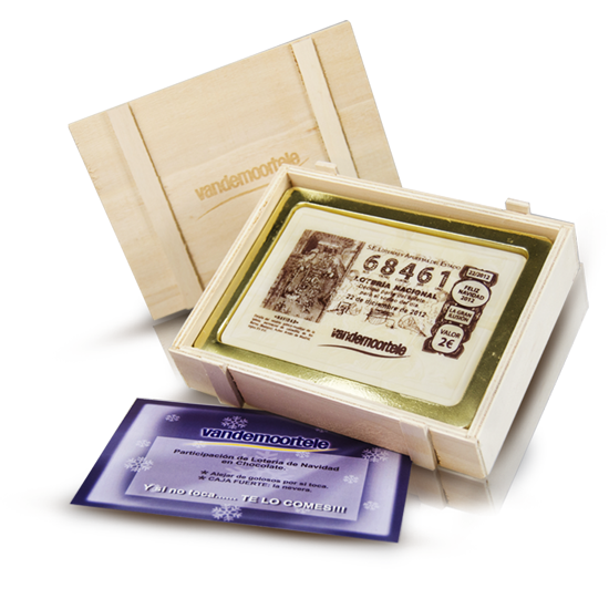 Printed chocolate lottery in wooden box