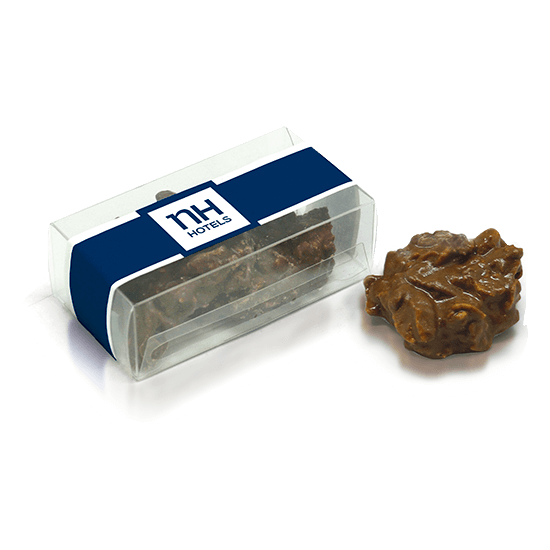 Acetate box with chocolate rocks