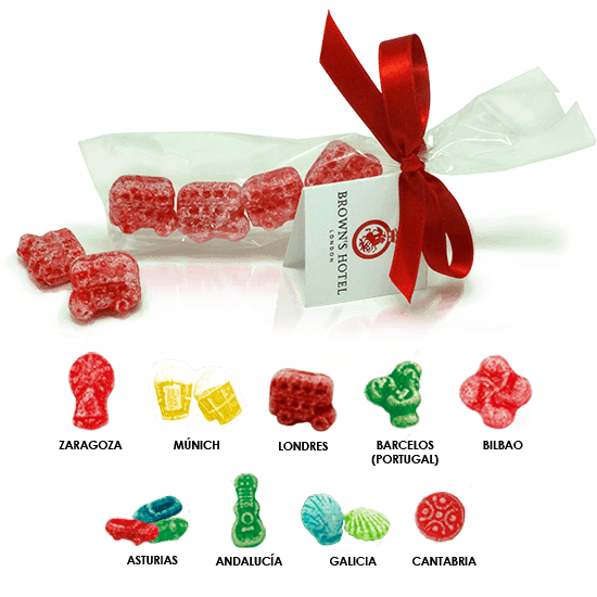 Ribbon bag with candies in 3D