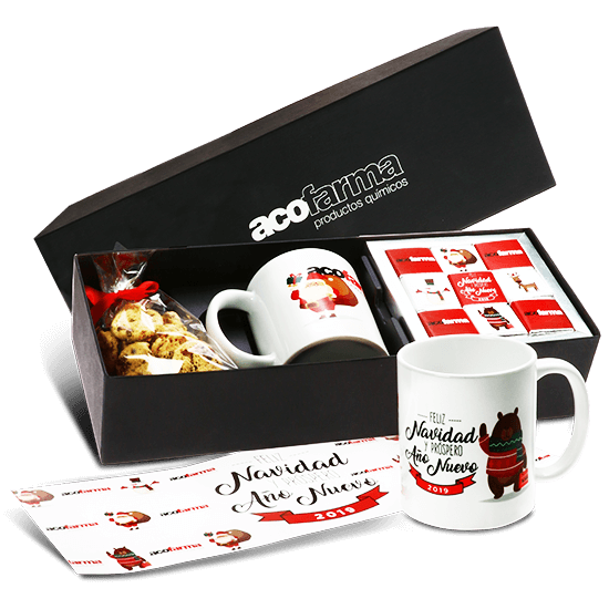 Box with chocolate, cookies and mug