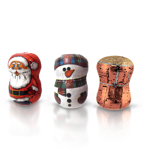 Chocolate with Santa Claus or snowman shape