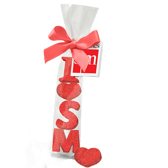 Ribbon bag with message gummies