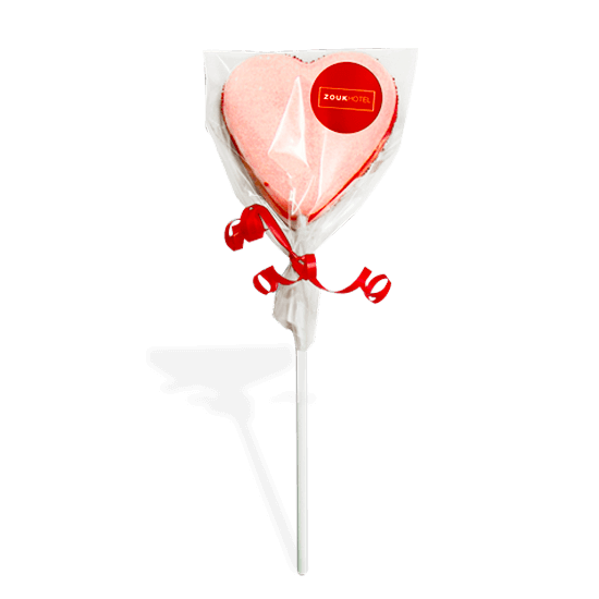 Heart lollipop of marshmallow