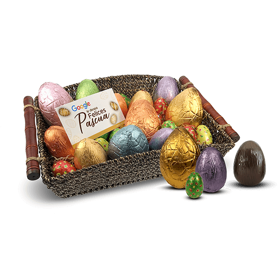 Basket with chocolate eggs