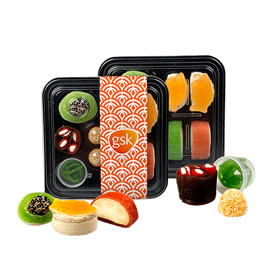 Box with sushi candies