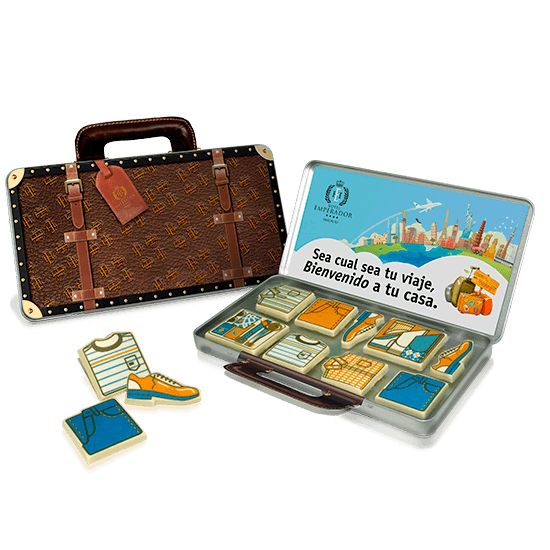 Suitcase tin with 8 chocolates