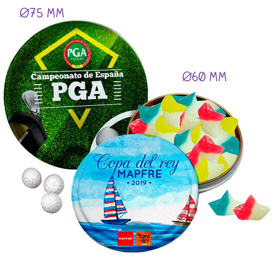 Ø75/Ø60 Round tin with personalized candies
