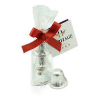 Ribbon bag with three chocolates in bell shape